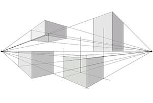 Dibujar la perspectiva con dos puntos de fuga