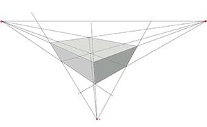 Dibujar la perspectiva con tres puntos de fuga